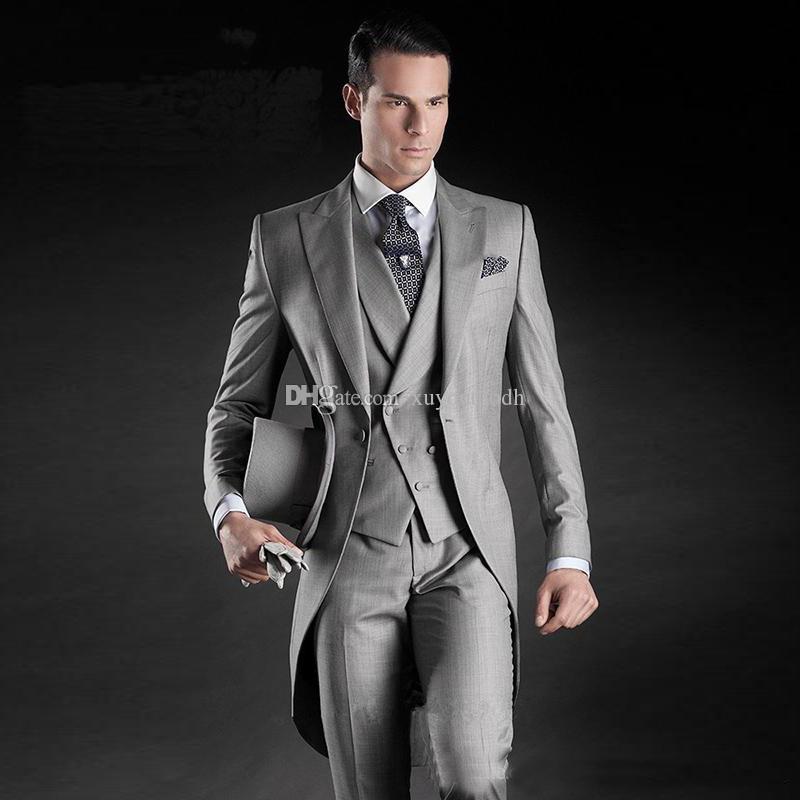 2018 İtalyan Stili Custom Made Erkekler Suit Grey tailcoat Tuxedo Düğün Suit Dar Kesim Resmi Damat Damat Balo Blazer Ceket + Pantolon + Yelek