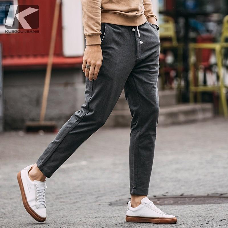Pantaloni casual da uomo autunno 100% cotone Tasca color grigio per uomo Moda Slim Fit 2018 Nuovo abbigliamento maschile pantaloni lunghi dritti 1930