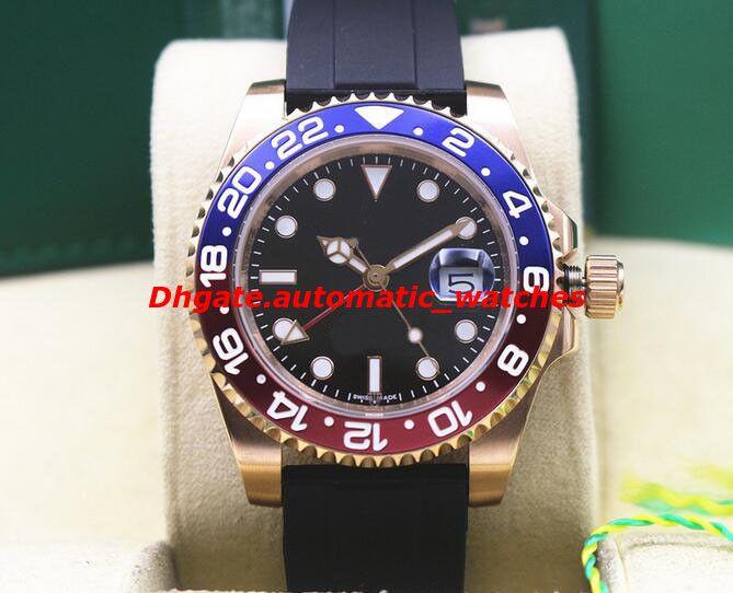 4 estilos de luxo relógio de pulso NEW 18k Rose Gold AZUL / VERMELHO II 116710LN 116719LN Perpétuo Homens Pulseira De Borracha Cerâmica Relógio Automático relógios