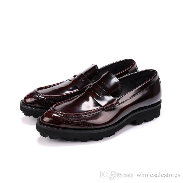 Fashion Black / Wine Red Platform Loafers Mens Casual Shoes Genuine Leather Wedding Groom Shoes