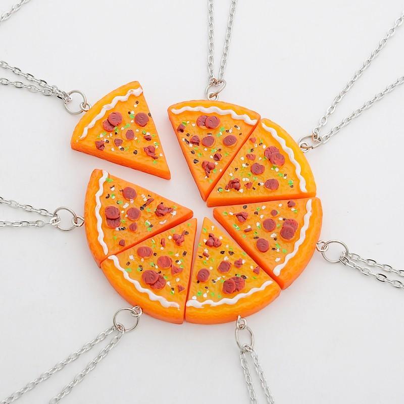 Pizza Necklace Keychains Best Friends Forever Gift For Women Men Children BFF Friend Puzzle Pendant Friendship Necklace Key Charms