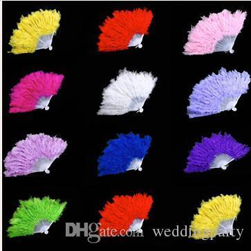 Accessori da sposa Bianco elegante soffice soffice mano fan di piume d'oca Fan Dress Costume Dance puntelli