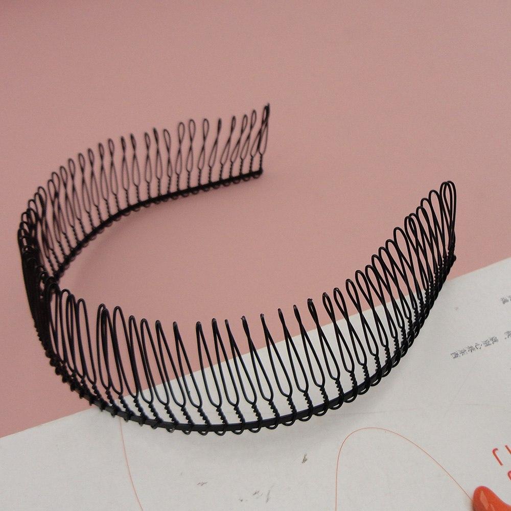 Черные полные зубы простой металлический гребень волос повязки с 80 шт. 37 мм высокие зубы,оптовые мужские повязки
