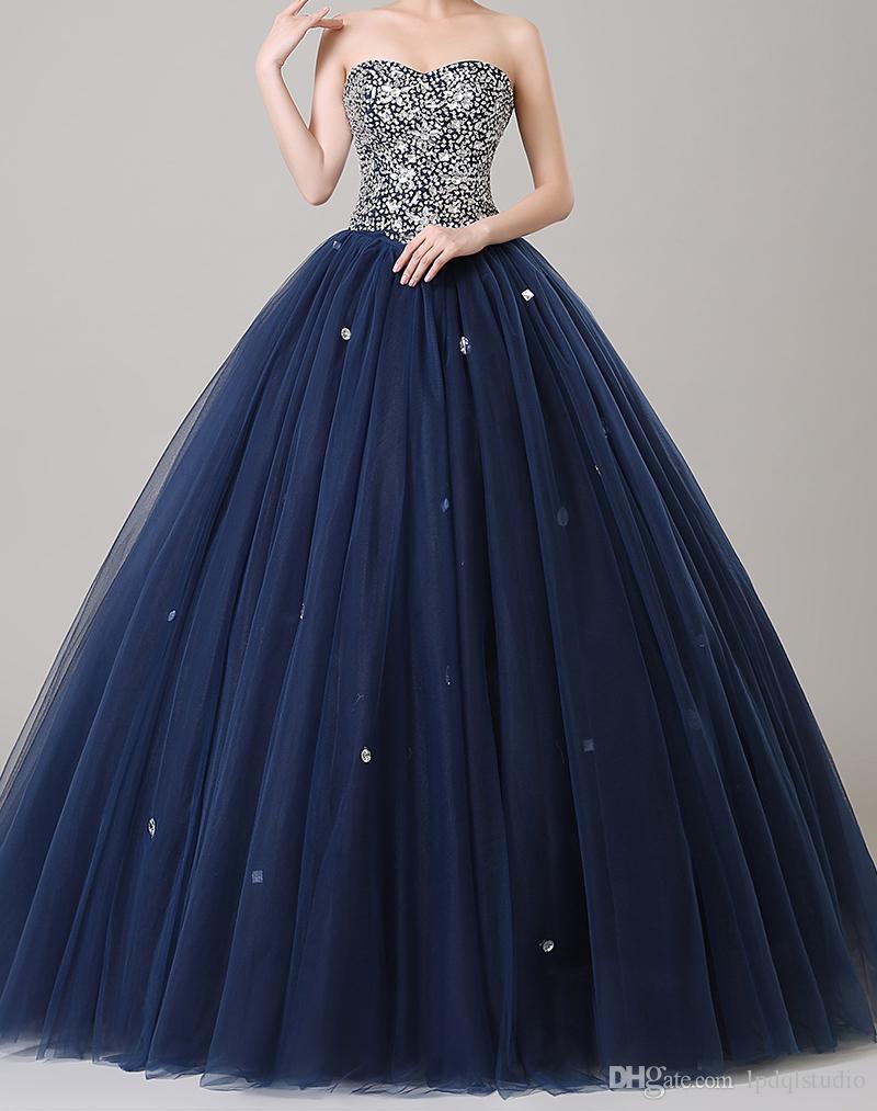 Azul marino balón vestido de baile cuentas brillantes vestidos de las lentejuelas Top trasero con cordones de la tarde Gownselegant vestidos de noche formales