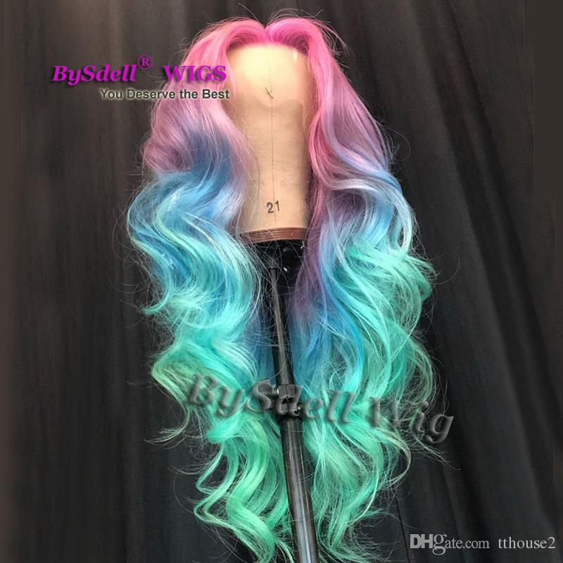 Colored hair Wigs Synthetic Long loose wave ombre Pink Blue colorful hair Lace Front Wig Mermaid Cosplay party pelucas wigs for Women