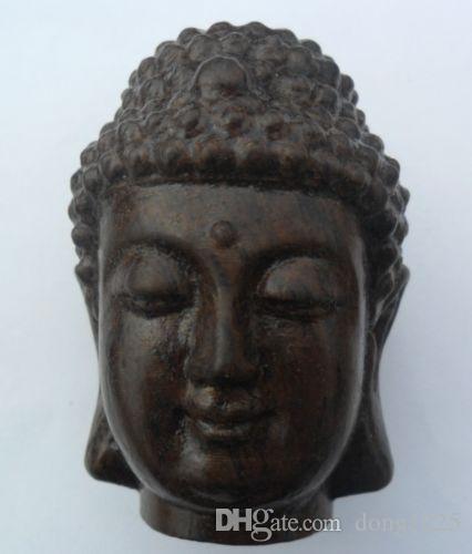 Chinois sculpté à la main en bois Bouddhisme tibétain Sakyamuni Bouddha tête Statue