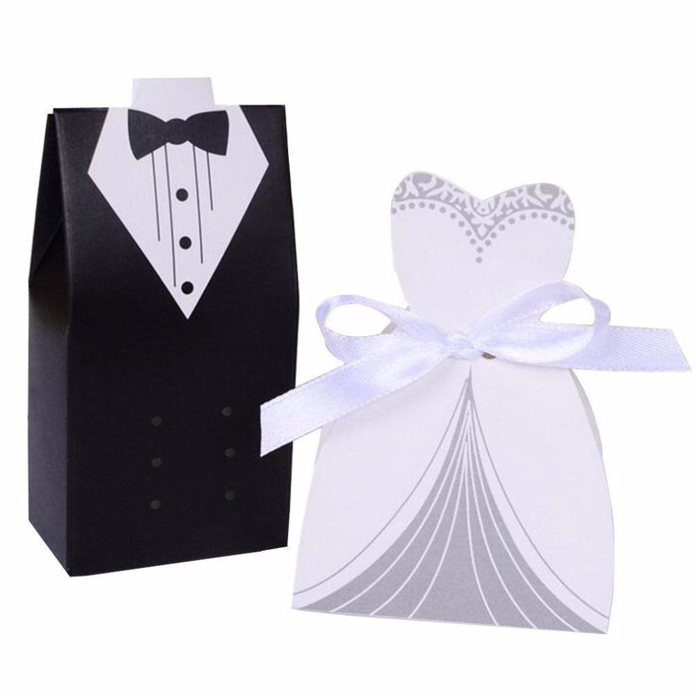 HD (50 세트 / 많은) 신부와 신랑 웨딩 캔디 상자 종이 웨딩 선물 손님 Souvenir Supplies Chocolate Box