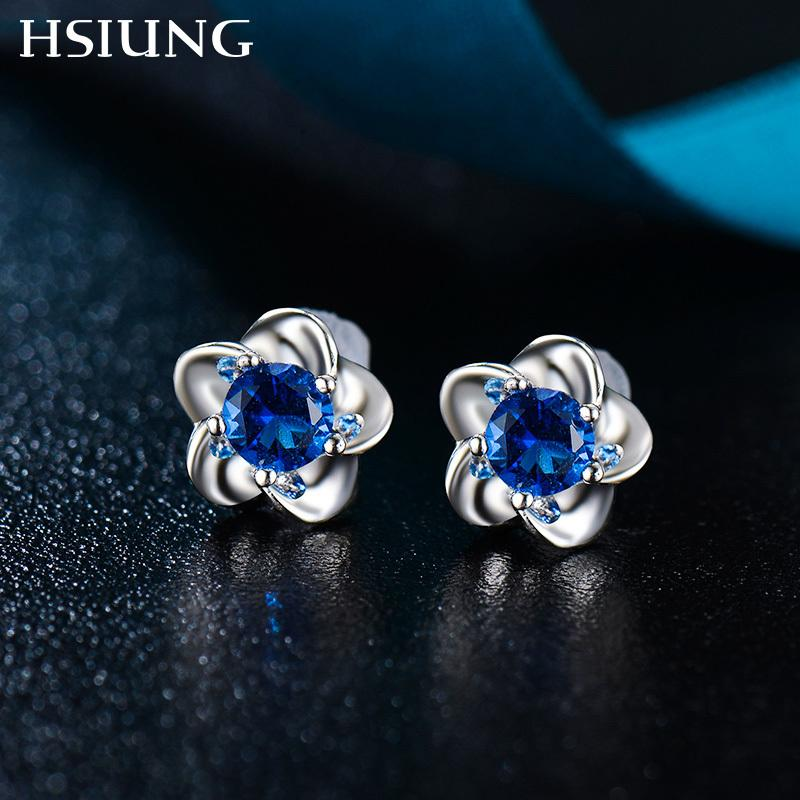 HSIUNG silversmith S925 sterling silver women plant-shaped anniversary gift simple trendy style pair earrings Y18110110