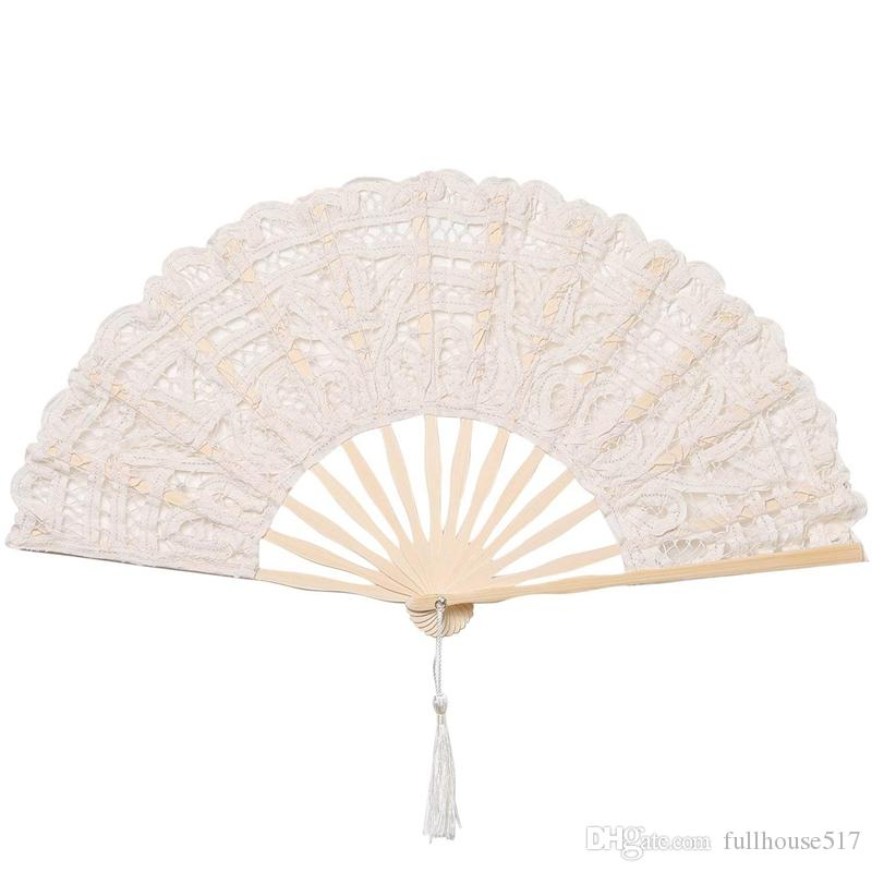 Folding wood lace fan Handmade Cotton lace bamboo fan Hand Held Fans for Cosplay Dancing Props Wedding Gift Festive Party Supplies