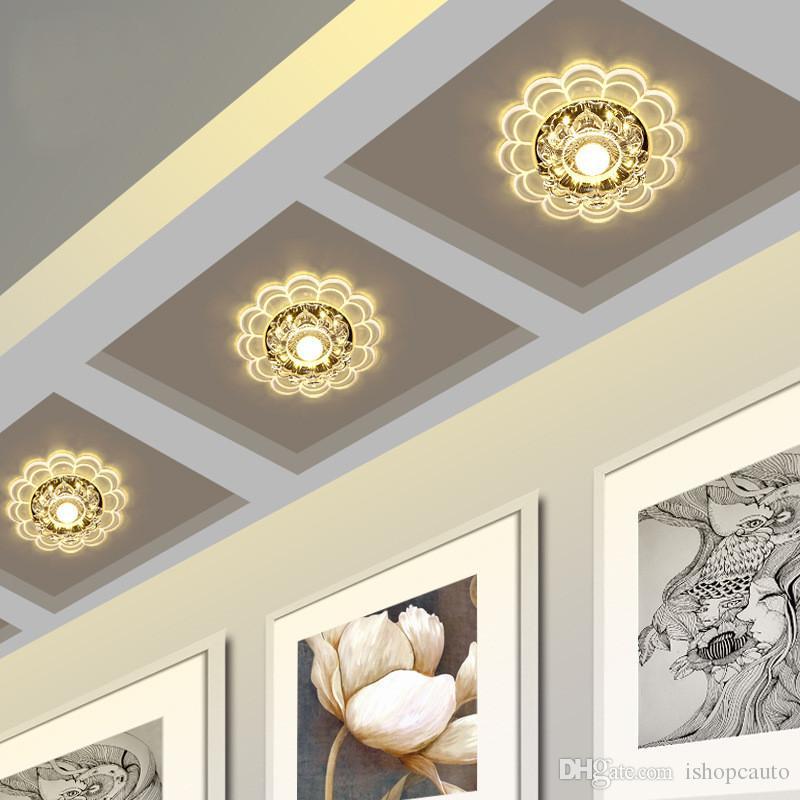 Modern Kristal LED Tavan Koridor Girişinde Koridor Geçit Işıkları için Yaratıcı Yuvarlak Modelleme Tavan Lambası Desteği Drop Shipping