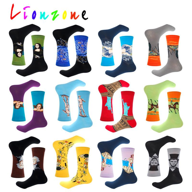 Autumn Winter Retro Men Plus Personality Art Van Gogh Mural World Famous Painting Male Socks Oil Funny Happy Socks