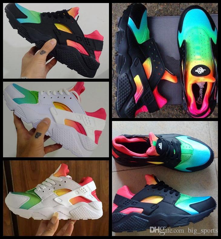 2018 Huarache الجوية 1 I الرجال النساء الاحذية أحذية الرجال رخيصة الأسود قوس قزح متعدد الألوان Huaraches 1S المدربين حذاء رياضة رجل Huraches الرياضة