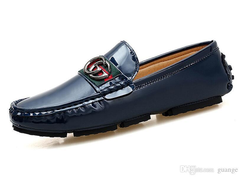 2018 más el tamaño 38-46 los zapatos de moda de los hombres de conducción Resbalón respirable ocasional Barco mocasín de los holgazanes de los hombres del resorte zapatos de los hombres