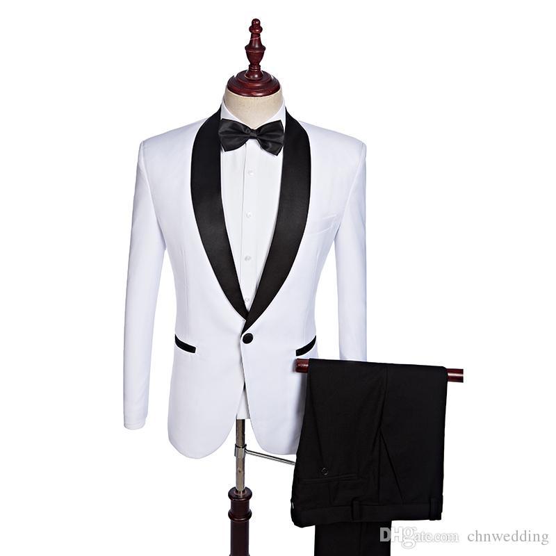 Özel Beyaz Erkekler Siyah Yaka Sağdıç Suits (Ceket + Pantolon) En İyi Erkek Balo Blazer Wear ile 2018 Düğün Damat smokin Takımları
