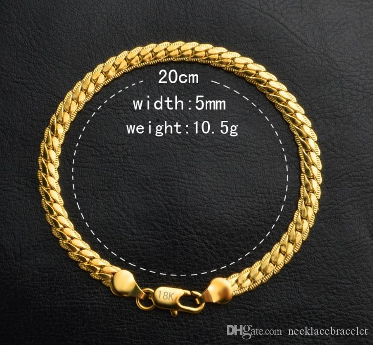 18K REAL GOLD plate BRACELET 10.5 g 20cm 5mm FIGARO CHAIN Containing 925 Sterling Silver hand chain
