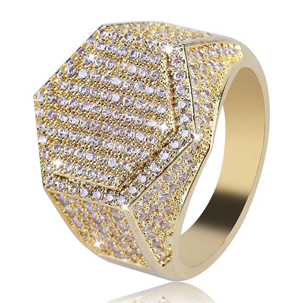 Anello esagonale cubo hip-hop Anello in rame placcato color oro argento Anello ghiacciato per zircone cubico per uomo donna
