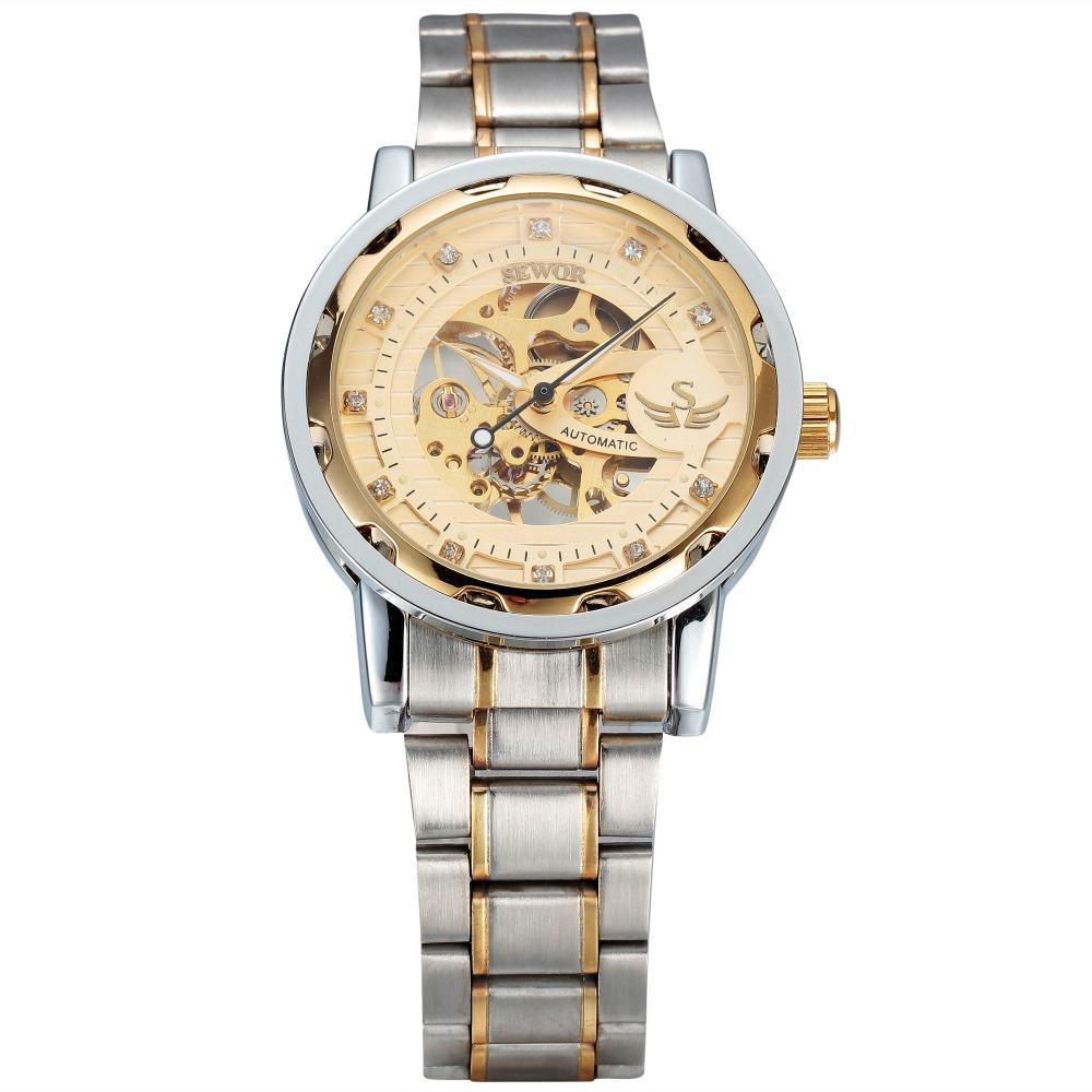 SEWOR Hombres Esqueleto Mecánico Relojes de pulsera Negocio Relogio Masculino Correa de acero inoxidable Hombre Rhinestone Reloj de viento manual SWQ16-614