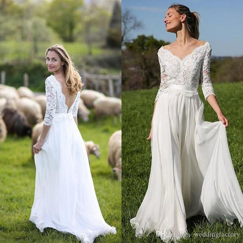 2019 Stunning Beach Wedding Dresses V Neck Off the Shoulder Illusion Lace Sleeves Open Back Boho Bohemian Country Style Bridal Gowns
