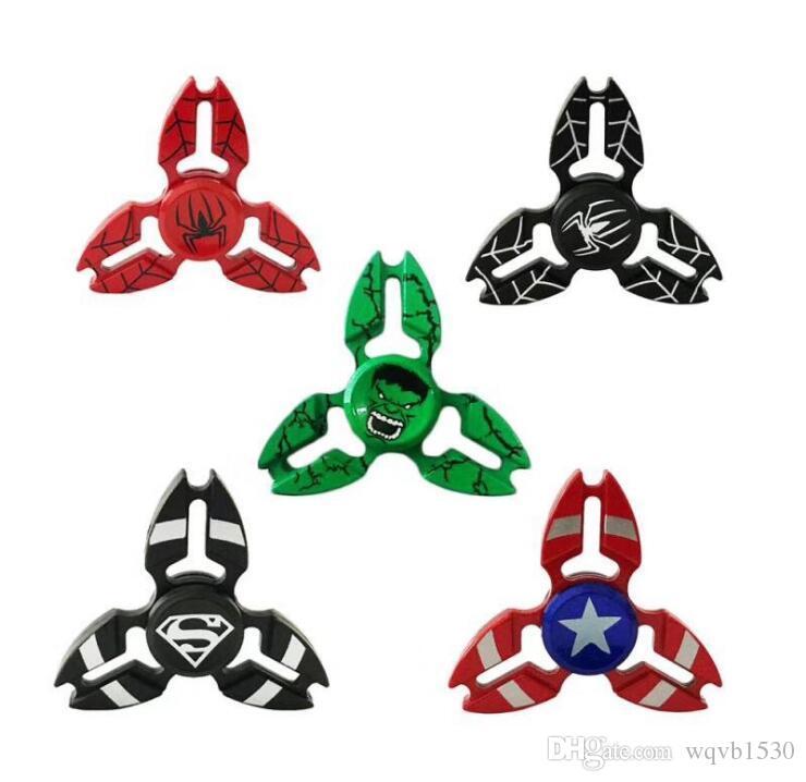 Explosive sales direct zinc alloy triangle finger tip gyro Spiderman captain three legged crab decompression gyro