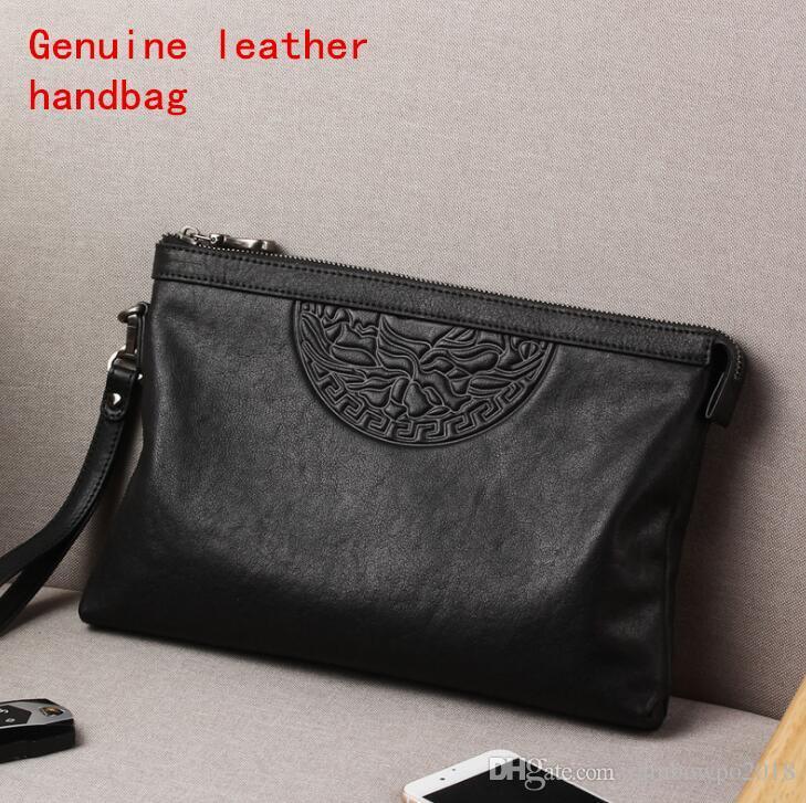 Factory brand men Bag Fashion Leather Men wallet trend head leather large capacity men handbag soft soft leather embossed mens hand bag
