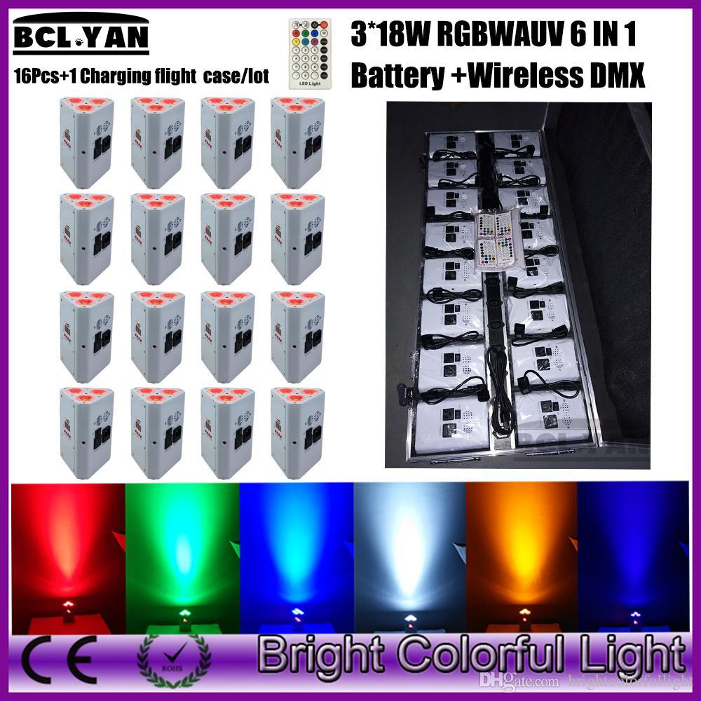 Newest Cheap Mini Party DJ Par Light 16Xlot With Charging case Battery Wireless DMX Par Lights RGBWAUV Wedding Effect Uplighting 16XLOT+Case