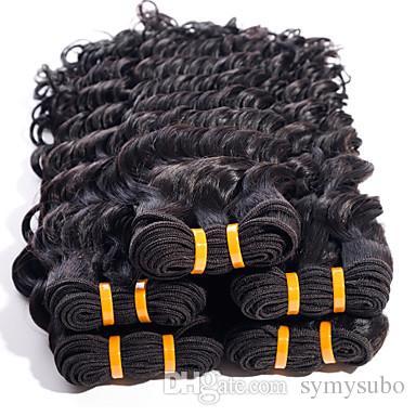 Необработанные двойной уток черный цвет волос перуанский глубокая волна Реми волос 1шт черный человеческих волос ткачество расширение