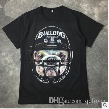 Tshirt dos homens Capacete De Beisebol 3D Cabeça de Cão Impressão T Shirt de Manga Curta T-shirt Preta Moda Masculina Skate Solto Tshirt