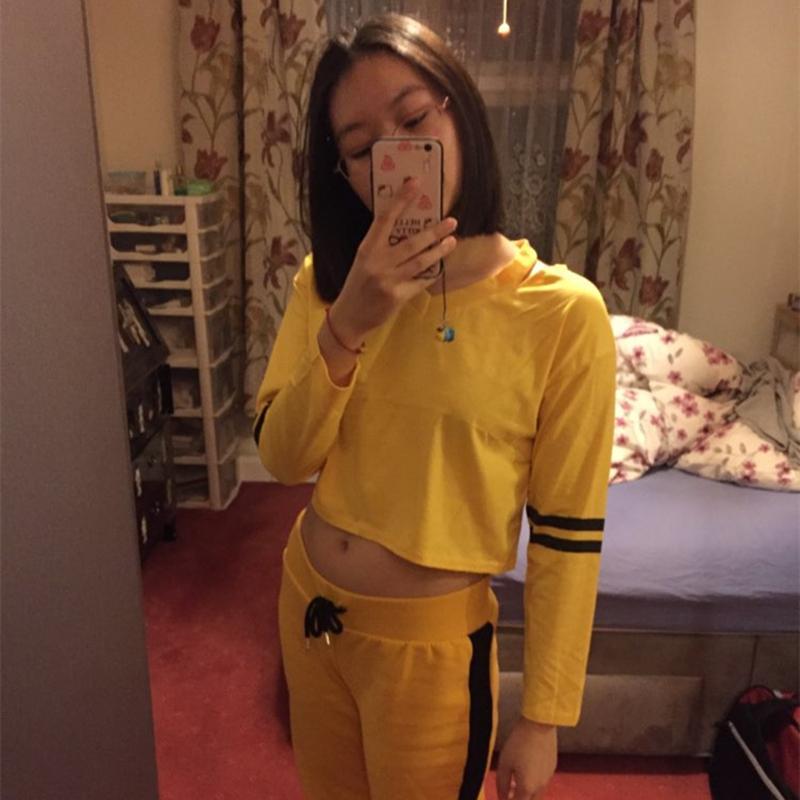 Felpe con cappuccio da donna moda Felpe con cappuccio a strisce gialle a righe gialle per ragazze Pullover autunnali Sexy Felpa corta stile coreano Felpe Tumblr
