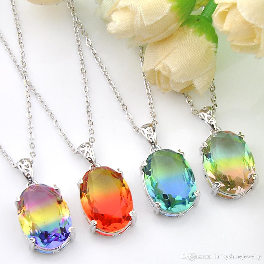 Luckyshine 4 pièces / Lot charme Mode pendentif de femmes Dégradés Tourmaline Zircon 925 Pendentifs Argent Colliers + mariage chaîne