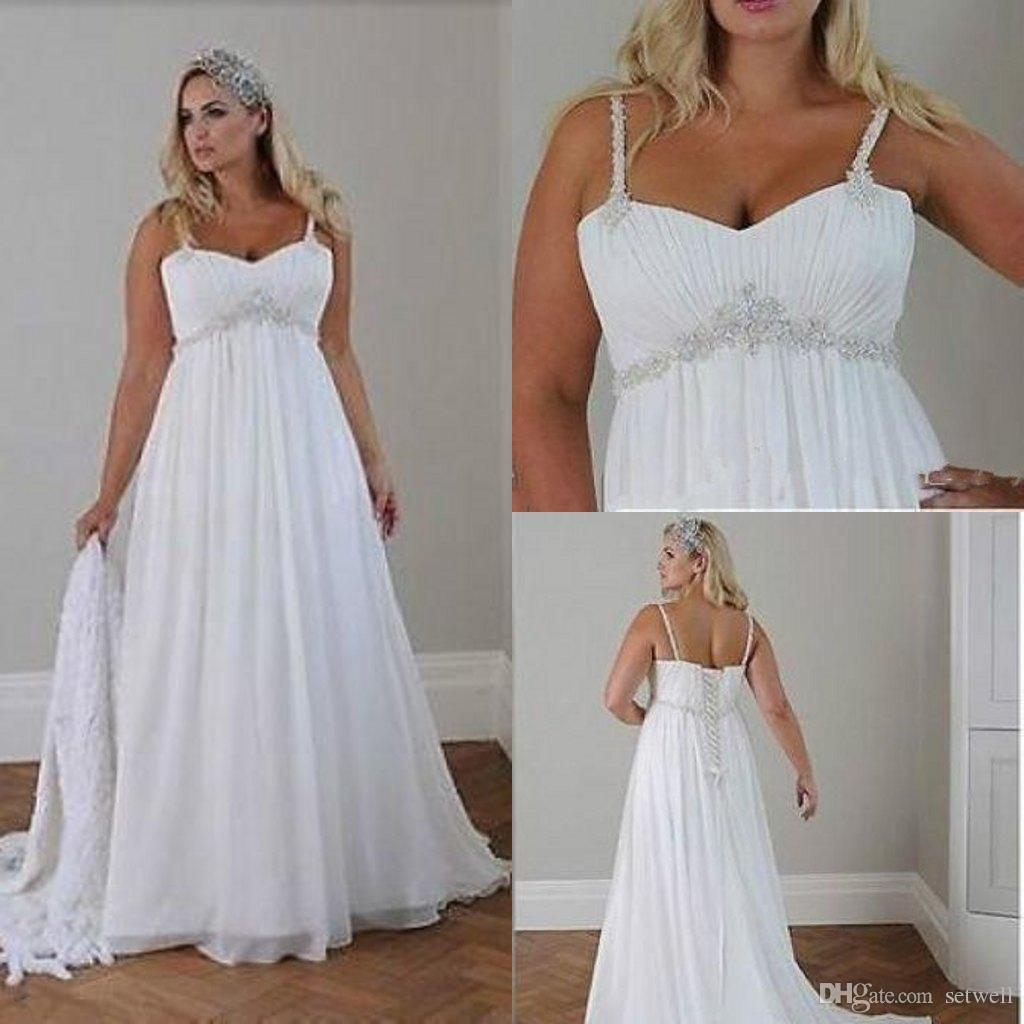 Discount Plus Size Summer Chiffon Beach Wedding Dresses 2018 Spaghetti  Beaded Bridal Gowns Cheap A Line Wedding Dress Bride Dresses Dress For  Wedding ...
