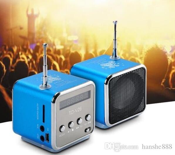 Портативный мини-динамик TD-V26 Hi-Fi стерео аудио колонки FM-радио TF U Слот для диска Мульти-динамик Цифровой звуковой ящик Mp3-плеер