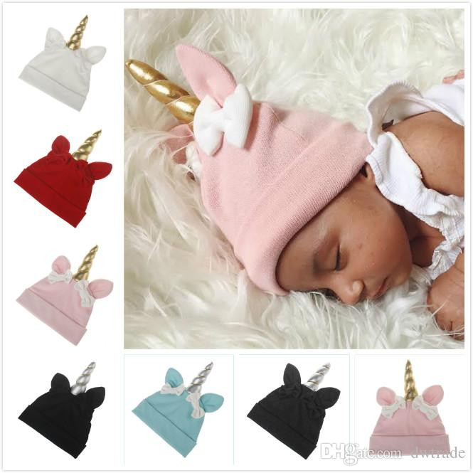 New autumn and winter Handmade Baby Unicorn Hats Children xmas Hat Knitted sleeve Head cap 6 colors 6M-3T kids
