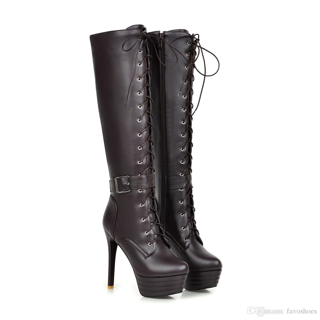 Fashion Womens Synthetic Leather Shoes Platform High Heel Zip Lace Up Knee Boots FF-B201 US UK EUR Size Customized Favofans
