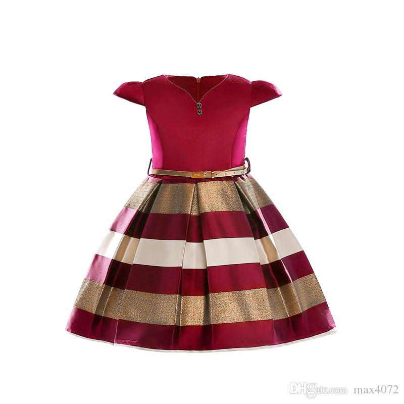 элегантная девушка платье Короткие рукавов мульти полосатый боути платье принцессы для 3-10yrs девочек дети дети ужин производительности платье