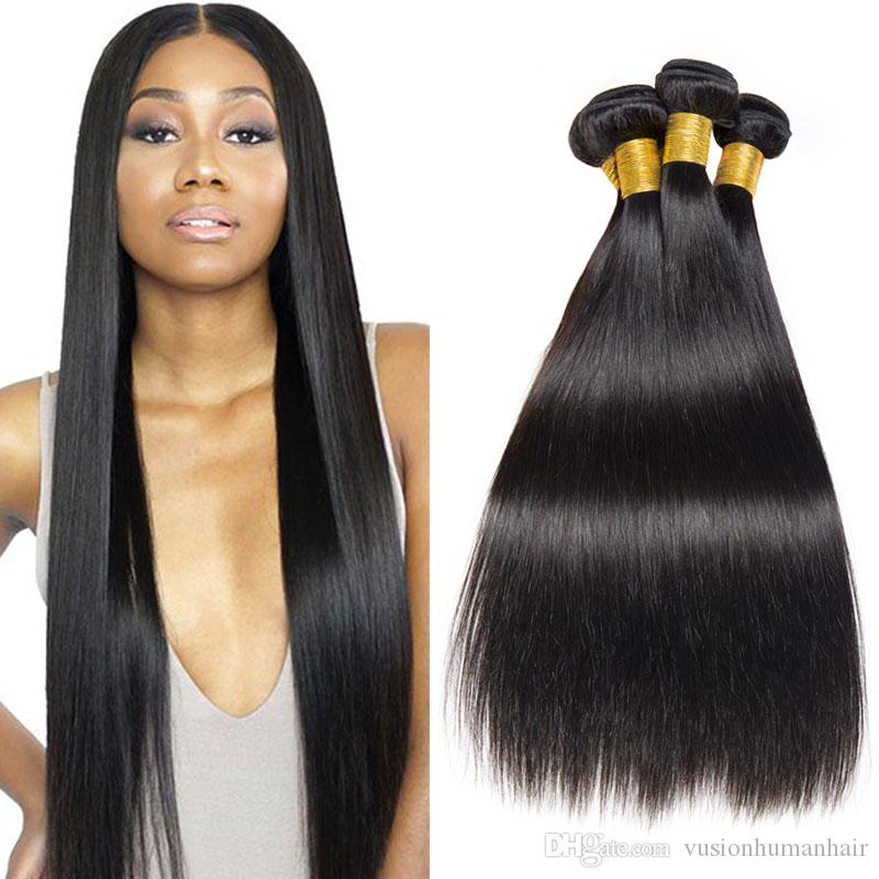 Brasiliana capelli lisci Bundles 3 Pezzi 10 12 14 pollici neri naturale capelli umani Bundles non trasformati doppie trame estensioni economici dei capelli