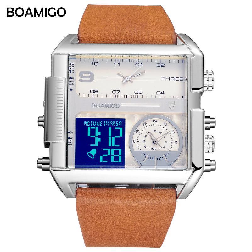 мужчины 3 часовой пояс часы BOAMIGO бренд человек Спорт цифровые аналоговые часы кожа прямоугольник наручные часы водонепроницаемый подарок часы S927