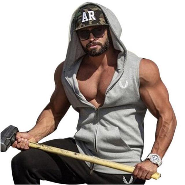 Hot Mens Baumwolle Hoodie Sweatshirts Fitness Kleidung Bodybuilding Tank Top Männer Sleeveless Trend Tees Hemd Casual Golds Vest