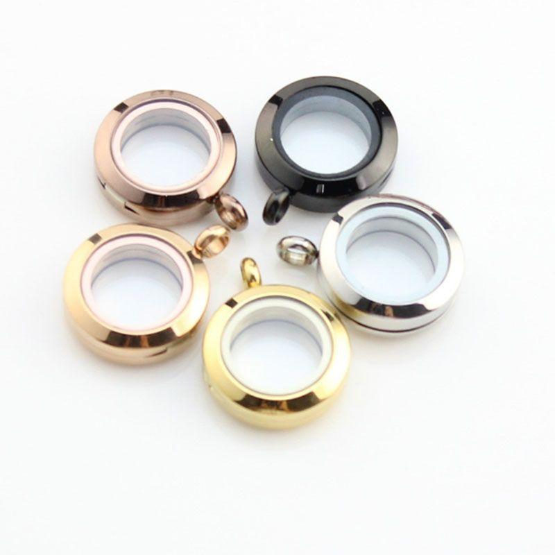 10 piezas de 20 mm de acero inoxidable 316L flotantes de vidrio medallones de plata / oro / Negro Tornillo de rotura Locket