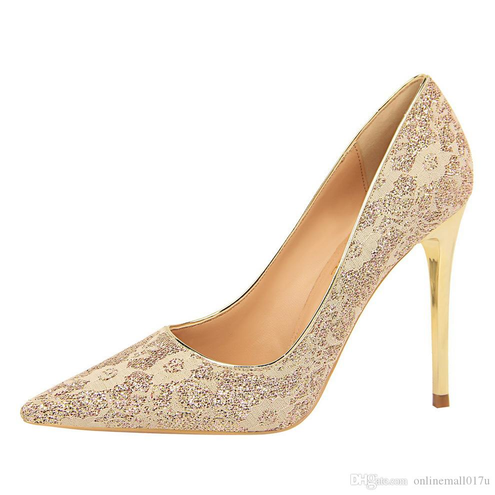 Lady Girls Pointe Toe Wedding Party High Heels Pumps Shoes Women Lace Sequined Cloth Glitter Sexy Dress Stilettos