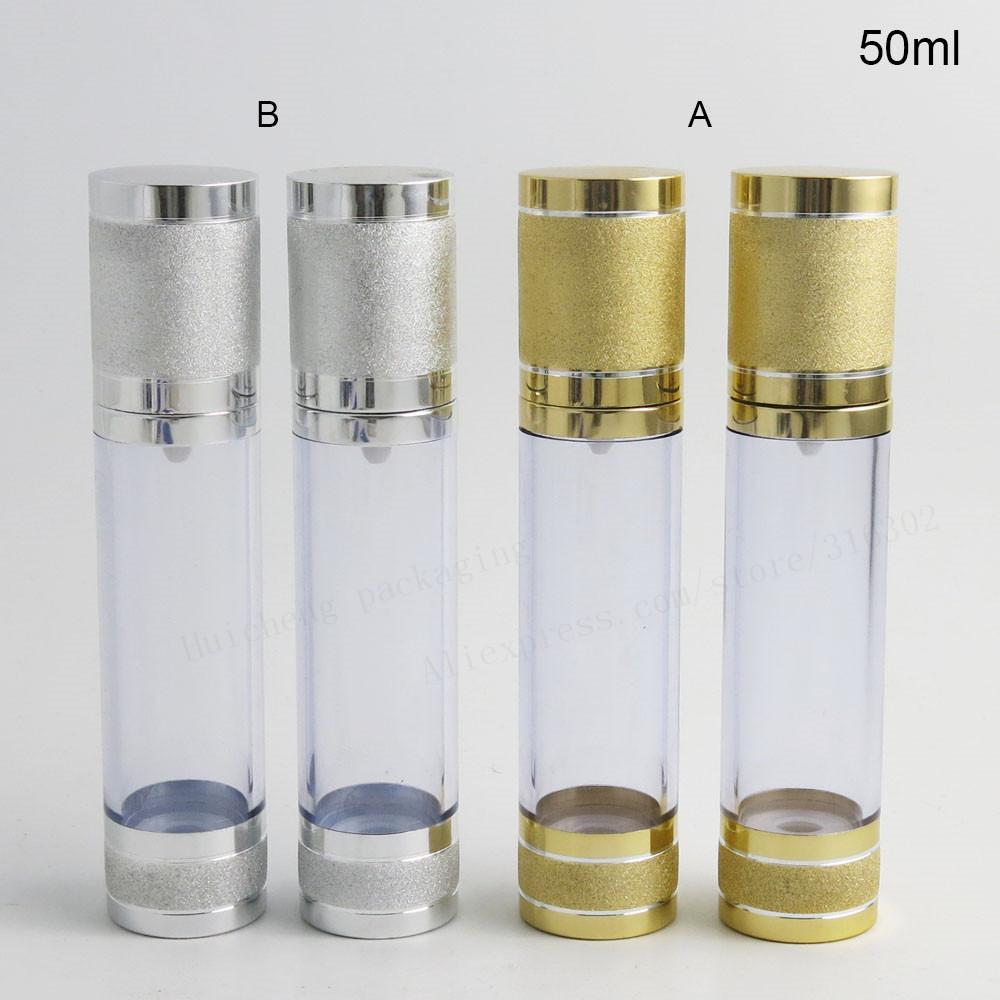200 x 50ML Gold Silver Travel Refillable Airless Cream Lotion Pump Bottle Vacuum Cosmetic Packaging 50cc Airless Containers