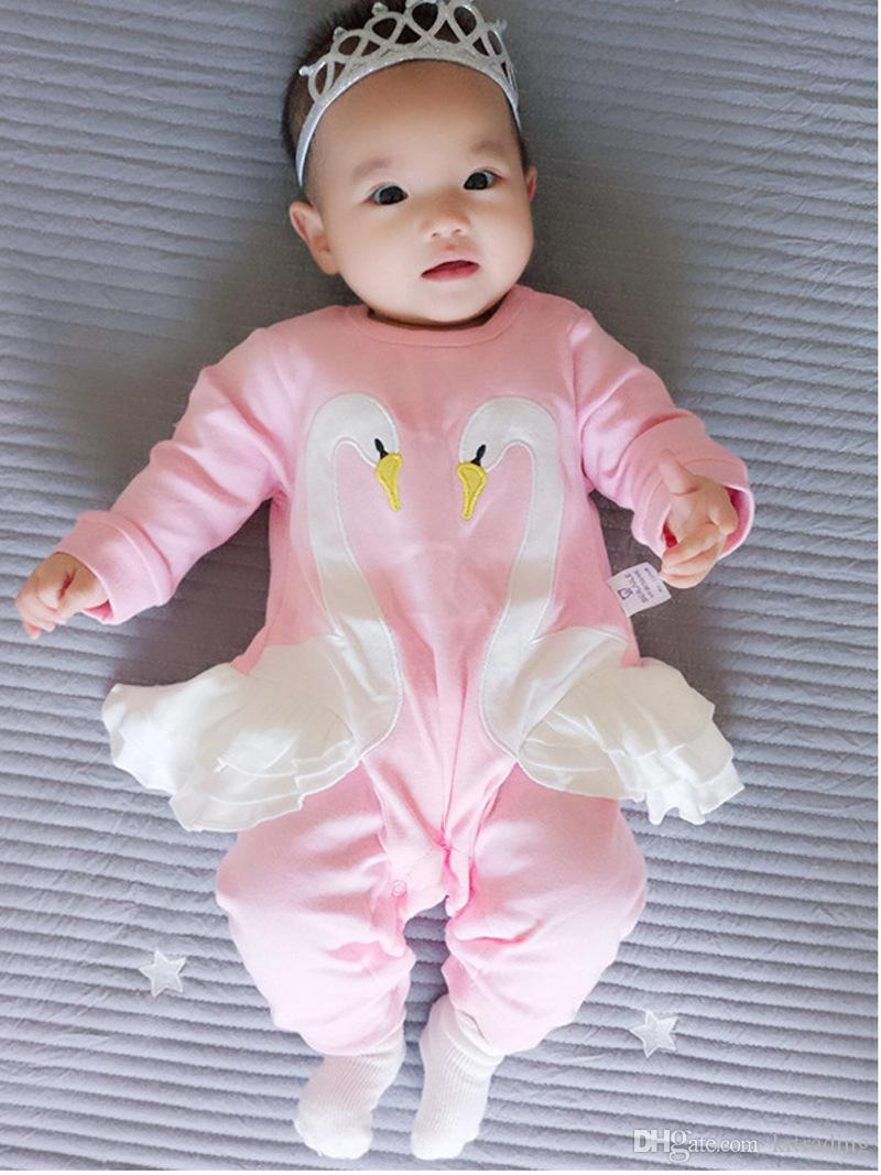 0-2T Baby Girls Swan patchwork Onesie Cute Infants white embroidery patched swan long sleeve pink romper