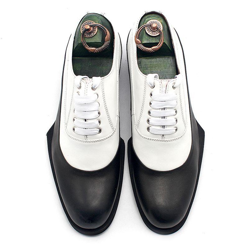 2021ss clássico Oxfords Branco Mistura Preta Formal Terno Formal Sapatos de Vestido Masculino Derby Sapato Salto Flat