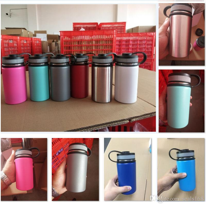 12oz Vacuum Water Bottle Insulated 304 Stainless Steel Water Bottle Travel Coffee Mug Wide Mouth Flip Cap Cups 8 color HH7-1160A