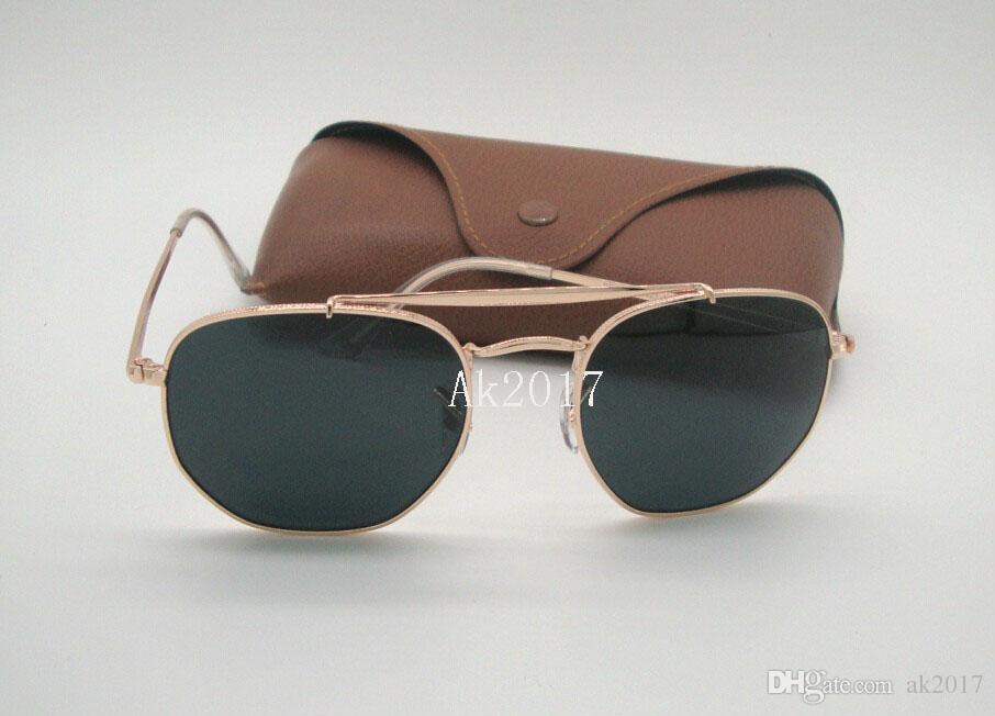 1 Paar Neue Ankunft Hohe Qualität Mens Womens Hexagonal Sonnenbrille Metall Unregelmäßige Sonnenbrille Gold Schwarz 54mm Glaslinsen Mit Brown Fall