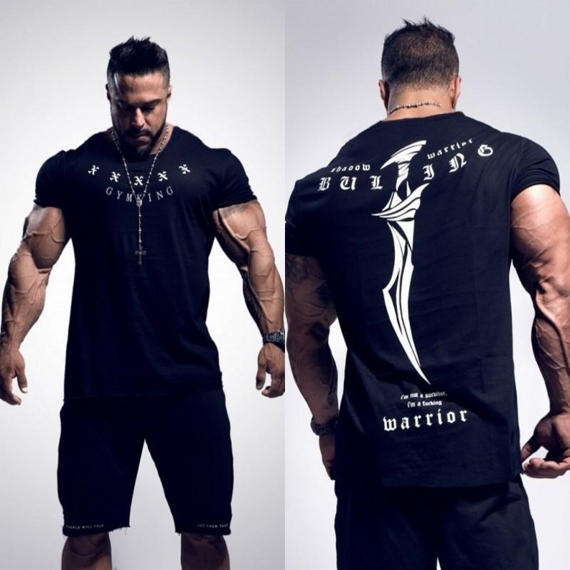 2018 Yeni İstasyonları Erkekler BUKING Yaz Vücut Geliştirme ve Fitness Mens Düzensiz hem Kısa Kollu T-shirt Gömlek Y1892108