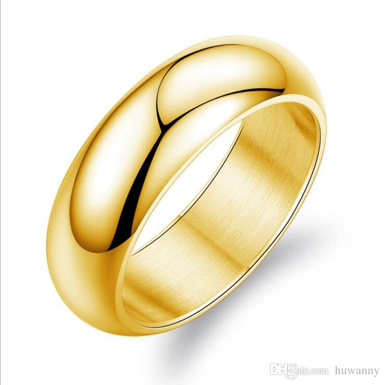 Gold Smooth Rings Jewelry Hot Sale Stainless Steel Band Finger Ring Women and Men Fashion Jewellery Wholesale Free Shipping 0698WH