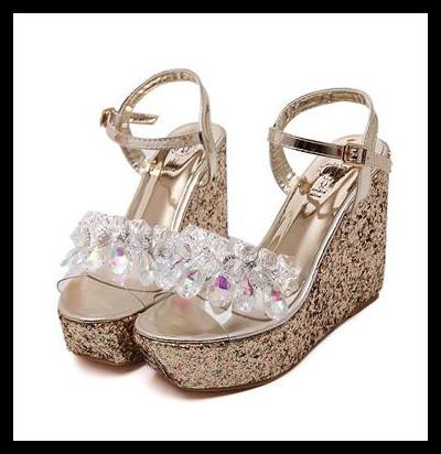 Newest Cross Tied Transparent Glitter Sequined Gold Silver Wedding Shoes Women High Heel Platform Wedge Sandals Size 34 To 39