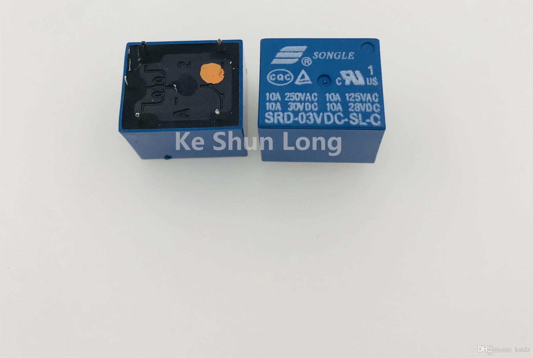 Ücretsiz kargo lot (10pieces / lot)% 100 Orijinal Yeni songle SRD-03VDC-SL-C SRD-05VDC-SL-C SRD-06VDC-SL-C SRD-09VDC-SL-C 5PINS 10A güç rölesi