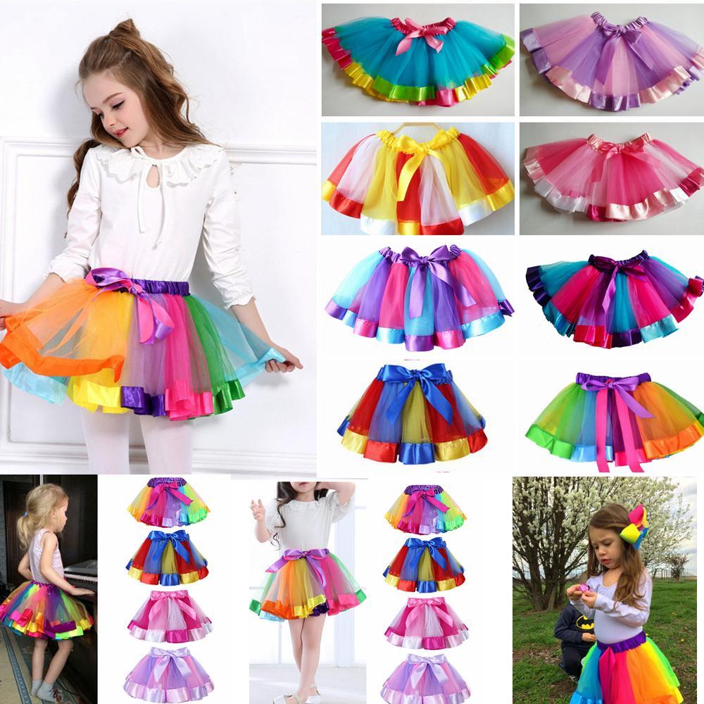 Kids Rainbow TUTU Skirt Dress Children Girls Ball Gown Colorful Dance Wear Dress Ballet Pettiskirt Summer performance Party Clothing AAA530