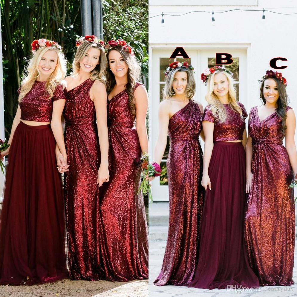 Burgundy Sequins Bridesmaid Dresses Country Custom Made Wedding Party Guest Gown Two Pieces Junior Maid Of Honor Dress Cheap Latest Bridesmaid Dresses